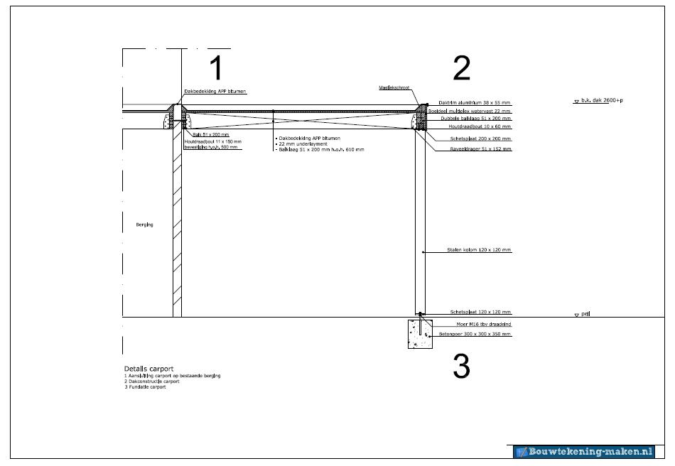 een voorbeeld van een detailtekening van een carport