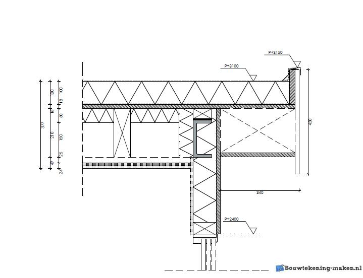 Voorbeeld detailtekening uitbouw