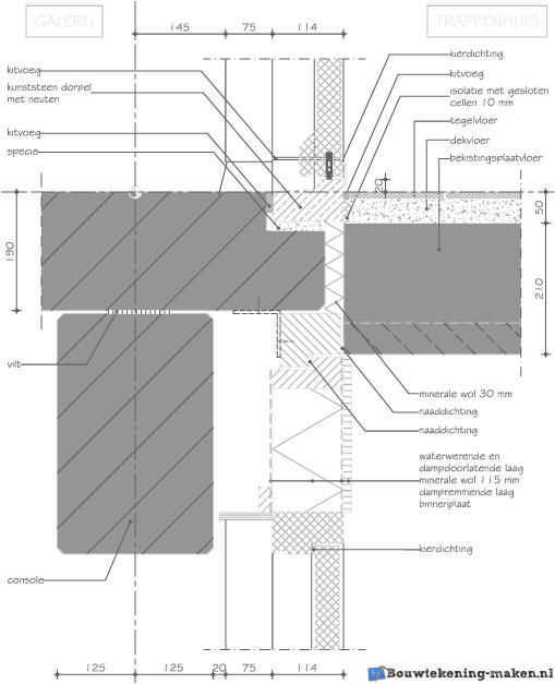 Voorbeeld doorsnedetekening detail galerij trappenhuis - Vervoeren van een trappenhuis ...