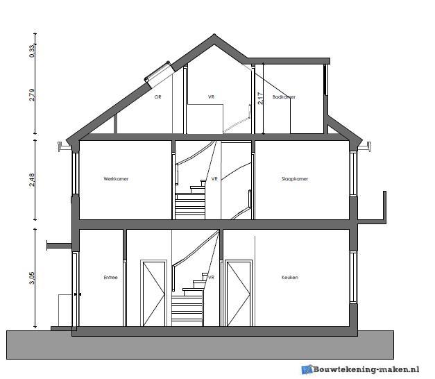 Voorbeeld doorsnedetekening woning for Tekening badkamer maken