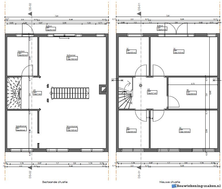 Voorbeeld plattegrond woning3 for Plattegrond woning indeling